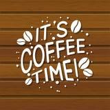 Letras del café en fondo de madera libre illustration