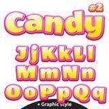 Letras del caramelo de los niños divertidos fijadas Mayúsculo y minúsculo latinos stock de ilustración