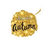 Letras del cepillo del otoño Diseño de la bandera del brillo del oro con las chispas en el fondo blanco Cartel estacional de la c Foto de archivo libre de regalías