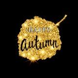 Letras del cepillo del otoño Diseño de la bandera del brillo del oro con las chispas en fondo negro Cartel estacional de la caída Fotografía de archivo libre de regalías