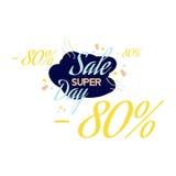 Letras del color para la muestra de la oferta de la venta especial, el hasta 80 por ciento apagado Ejemplo plano EPS 10 Imágenes de archivo libres de regalías