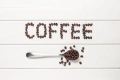 Letras del grano de café Fotos de archivo