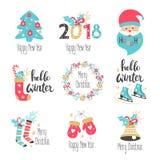 Letras del invierno fijadas con los elementos del día de fiesta Imagen de archivo