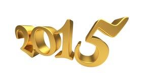 Letras 2015 del oro aisladas Foto de archivo libre de regalías