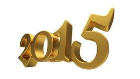 Letras 2015 del oro aisladas Fotografía de archivo