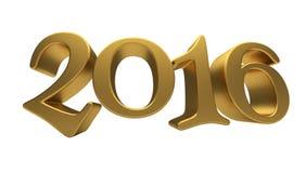 Letras 2016 del oro aisladas Imágenes de archivo libres de regalías