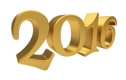 Letras 2016 del oro aisladas Imagen de archivo