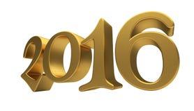 Letras 2016 del oro aisladas Imagenes de archivo