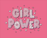 Letras del poder de la muchacha Foto de archivo libre de regalías