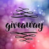 Letras del sorteo para la promoción en medios sociales con swashes en fondo borroso con las luces La rifa libre del regalo, gana  Fotos de archivo libres de regalías