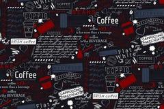Letras del texto del fondo de los términos del café y del café Vec inconsútil stock de ilustración