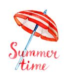 Letras del tiempo de verano y parasol de playa de la acuarela, aislado en blanco Foto de archivo libre de regalías