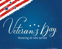 Letras del vector del día de los veteranos Imagenes de archivo
