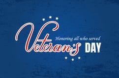 Letras del vector del día de los veteranos Fotografía de archivo libre de regalías