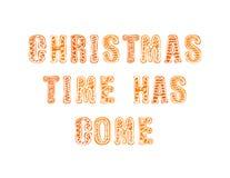 Letras del vector: El tiempo de la Navidad ha venido, pan de jengibre stock de ilustración