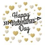 Letras del vintage del día de tarjetas del día de San Valentín con los corazones del oro y de la plata ilustración del vector