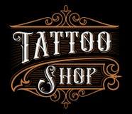 Letras del vintage de la tienda del tatuaje Imagen de archivo