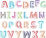 Letras desenhadas mão do alfabeto. Fotografia de Stock