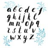 Letras desenhadas mão do alfabeto ilustração stock