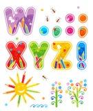 Letras determinadas W - Z del ABC más ilustración del vector
