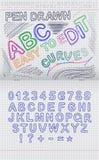 Letras dibujadas en una hoja del cuaderno en una célula stock de ilustración