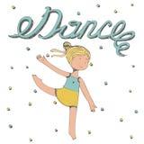 Letras dibujadas mano con danza de la palabra con el baile de la niña Fotos de archivo libres de regalías