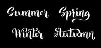 Letras dibujadas mano de Autumn Winter del verano de la primavera Caligrafía manuscrita Ejemplo fijado cuatro estaciones del vect libre illustration