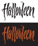 Letras dibujadas mano de Halloween con el spiderweb stock de ilustración