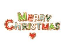Letras dibujadas mano de la galleta del pan de jengibre de la Feliz Navidad Fotos de archivo libres de regalías