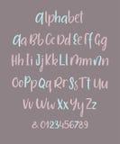 Letras dibujadas mano de la mayúscula y minúscula de ABC del vector de la tinta del cepillo fijadas Fuente cómica del garabato pa Fotos de archivo libres de regalías