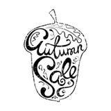 Letras dibujadas mano de la venta del otoño Fotografía de archivo libre de regalías