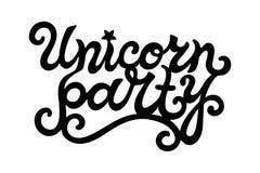 Letras dibujadas mano de Unicorn Party Imagenes de archivo