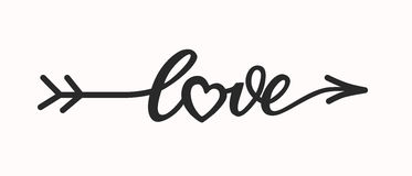 Letras dibujadas mano del amor en flecha de la forma Foto de archivo libre de regalías