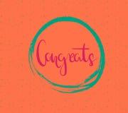 Letras dibujadas mano del cepillo de un ` de Congrats del ` de la frase Elemento único de la postal o del cartel de la tipografía Fotos de archivo
