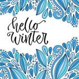 Letras dibujadas mano del vector Hola invierno Caligrafía moderna del día de fiesta Tarjeta o cartel de felicitación stock de ilustración