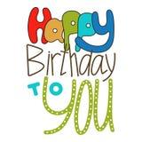 Letras dibujadas mano, feliz cumpleaños Garabato, letras del día de fiesta, enhorabuena stock de ilustración