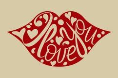Letras dibujadas mano feliz del día del ` s de la tarjeta del día de San Valentín Te amo calligrap libre illustration