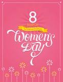 Letras dibujadas mano internacional del día del ` s de las mujeres Fotos de archivo libres de regalías