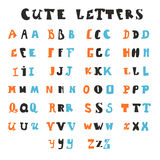 Letras divertidas del alfabeto Fuentes dibujadas mano Imagen de archivo