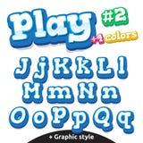 Letras divertidas del videojuego del vector fijadas Mayúsculo y minúsculo latinos stock de ilustración