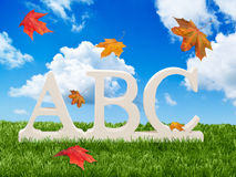 Letras do ABC com folhas de outono Fotografia de Stock Royalty Free