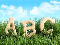 Letras do ABC na grama Fotografia de Stock