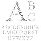 Letras do alfabeto de ondas do tracery ilustração stock