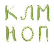 Letras do alfabeto de russo com ervilhas verdes, ABC fotografia de stock