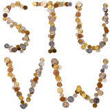Letras do alfabeto de S-T-U-V-W das moedas Imagens de Stock