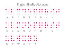 Letras do alfabeto do braile inglês Foto de Stock