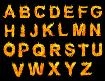 Letras do alfabeto do fogo Fotografia de Stock Royalty Free