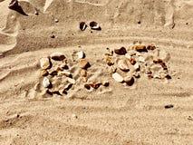 Letras do blogue na praia Imagens de Stock Royalty Free