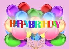 Letras do feliz aniversario na cor no rosa com balões imagens de stock