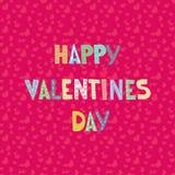 Letras dos desenhos animados no teste padrão sem emenda dos corações Projeto de cartão do cumprimento ou do convite do amor Fotos de Stock Royalty Free